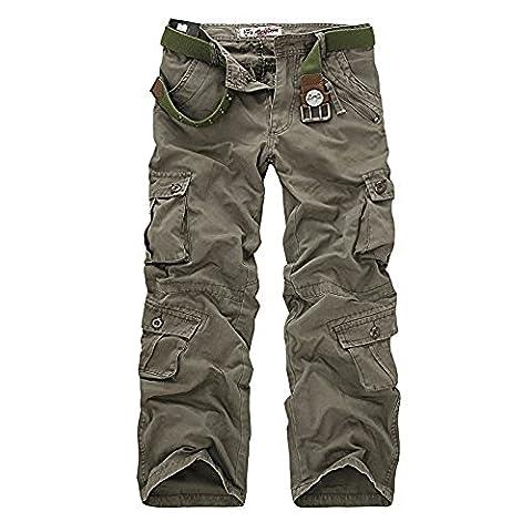 AYG Pantalon Cargo Homme Cargo Camouflage Casual Pantalon(Soil army green,32)
