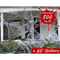 AISHN Spider Web Halloween Decoration, 200g Spooky Spider Webbing with 60 Fake Black Spiders for Outdoor or Indoor, Halloween Props Decoration (2 set, total 800 sq.ft)