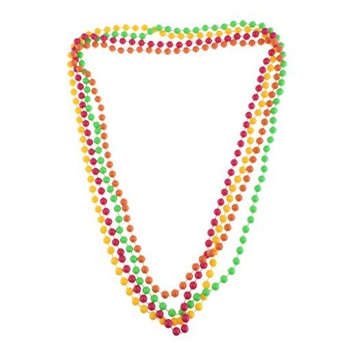 D DOLITY 4x 80er Party Kleid Zubehör Neon Perlenkette Perlen Halsketten/Armband, aus Kunststoff - 41,5 cm