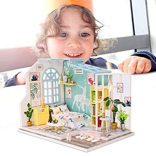 Hifuture DIY 3D Holzhaus,Häuser Für Minipuppen, DIY Miniatur Loft Puppenhaus Kit Realistische Mini 3D Holzhaus Zimmer Spielzeug, Jungen Und Mädchen