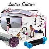 Premium Damen Sport-Set pink Sporttasche + Balanceboard + Bauchtrainer + Fitnessmatte ~ds5++