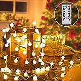 RenFox Lichterkette Kugel, 80 LED Lichterkette Glühbirnen Warmweiß, 8 Modi & IP44 Wasserdicht & Fernbedienung & 10M Batterienbetriebene Lichterkette Außen für Weihnachten,Hochzeit, Party,Festival