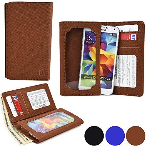 Funda Universal tipo Cartera Cooper Cases (TM) Infinite Wallet para Smartphone de ZTE Blade L2 / L3 / Q Maxi / S6 /Vec 4G en Marrón Lienzo (Superficie exterior de poliuretano, protector de pantalla incorporado, ranuras para tarjetas, compartimentos para tarjeta de identificación o carnets y billetes)
