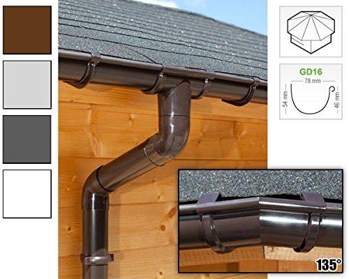 Dachrinnen/Regenrinnen Set | achteckiges Dach (8 Seiten) | GD16 | in anthrazit, weiß, braun oder grau! (Umriss bis 19.25 m (Kompl. Set), Braun)