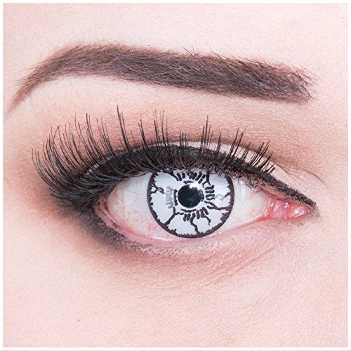 Funnylens 1 Paar farbige weisse schwarze Crazy Fun white monster Jahres Kontaktlinsen. perfekt zu Halloween, Karneval, Fasching oder Fasnacht mit gratis Kontaktlinsenbehälter ohne Stärke!