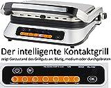 Gastronoma 16360028 BBQ Kontakt automatische Anzeige des Garzustandes, 6 voreingestellte Grill-Programme, Edelstahl, 2000 Watt
