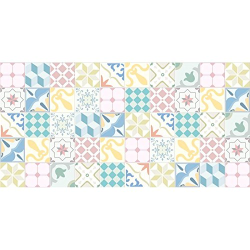 Flooralia - Alfombra Vinilica Extra Grande Patchwork- 295X195cm- Azul-Rosa