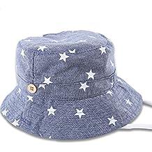 Leisial Sombrero Pescador con Algodón de Protectora del Sol Sombrero de Vaquero Primaver Venaro para Bebés Niños Niñas Azul oscuro