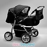 Akjax 'Gemini' Zwillingskinderwagen - Geschwisterwagen - Zwillingsbuggy - Babyschale - Nr.12 schwarz / schwarz