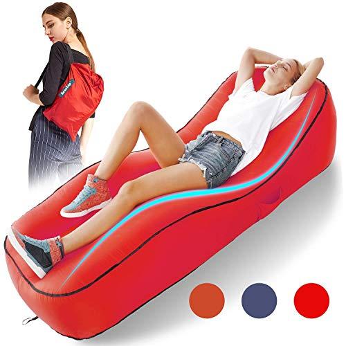 Aufblasbare Liege Air Sofa, tragbare Lazy Carry Wasserdichte Schlafsack Ultraleichtes Bett mit Kissen für Pool Float Pool Strand Hinterhof Reisen Camping Wandern Schwimmen (Farbe : Rot) -