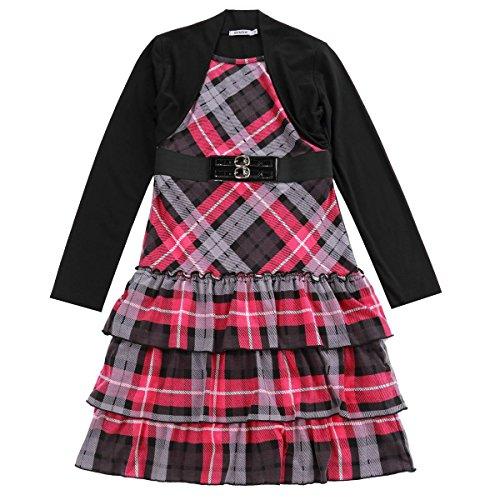 ge Hülse Stricken Plaid Drucken Kleid mit Achselzucken ROSA Größe M (Plaid Mädchen Kleider)