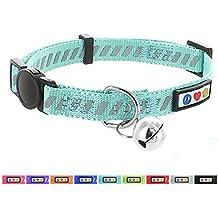 Pawtitas Collar de gato / mascota trafico reflectivo con hebilla de seguridad y campana color Turquesa