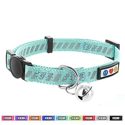 PAWTITAS Reflektierendes Katzenhalsband für den Straßenverkehr mit Sicherheitsschnalle und Abnehmbarer Glocke Katzenhalsband Kätzchenhalsband Knickente Katzenhalsband
