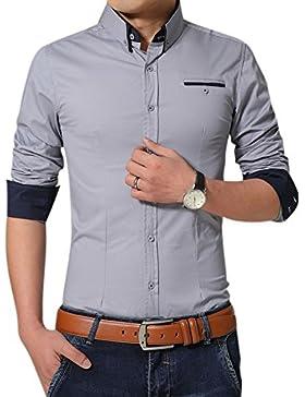 Uomo Camicia Slim Fit con Maniche Lunghe anti piega affari Camicie Grigio XXXL