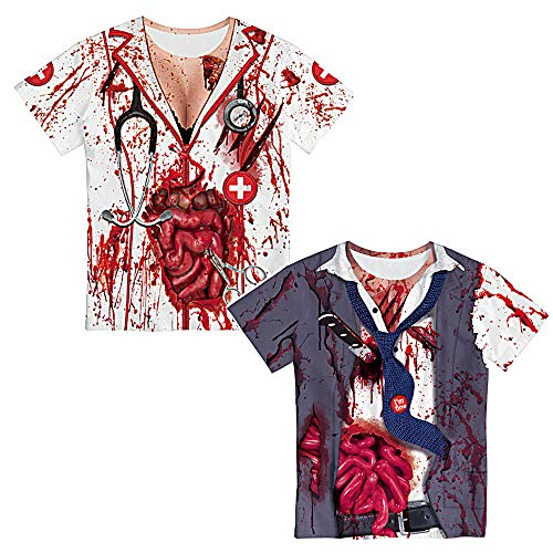 Halloween Horror blutige Kostüme der Frauen Zombie Walking Dead-Art-T-Shirt Kostüm Outfits Cosplay Partei-Damen Perform Kleidung T-Shirt 2 PCS,M
