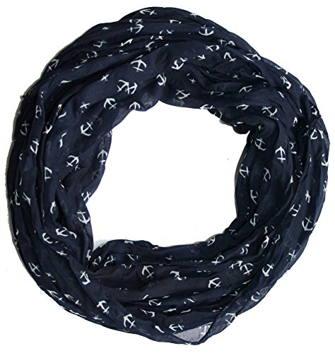Anker Marine Damen Loop Schal aus hochwertiger Seide & Baumwolle (marine)