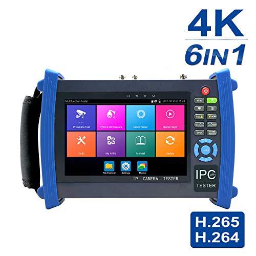 Ãœberwachungskamera-Tester, 7-Zoll-1080p-Retina-Display, 6-in-1-IP-Kamera-Tester mit SDI/TVI/AHD/CVI/POE/WIFI / 4K H.265 / HDMI-Eingang und -ausgang, 8600-ADHS-PLUS