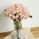 Longra Wohnaccessoires & Deko Kunstblumen Künstliche 5 Stück Künstliche Fake Rosen Flanell Blume Bridal Bouquet Hochzeit Party Home Decor Blume (C3: 1 Strauß 11 Köpfe)