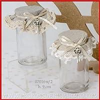 Tarros de cristal cilíndrico con tapón de corcho revestido de tela de dos colores Avana y gris assoortiti, bloccati de un lazo de raso crema a cui VI è ...
