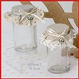 Glas rund mit Korken mit Stoff in zwei Farben havanna und grau assoortiti, blockiert von einem Bändchen in Satin creme mit denen es hängt ein Schlüssel aus Metall–Geschenke Geburt, Taufe, Kommunion, Hochzeit, Jahrestag kit 12 pz. rot