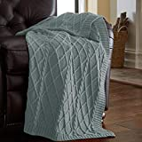 Amrapur Overseas 100% Cotton Oversized Cable Diamond Knit Throw, 50
