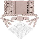Filzgleiter Selbstklebend,Furado 190 Stück Möbelgleiter Stuhlgleiter Bodengleiter,Extra Strapazierfähiger Filz und 100 Transparent Selbstklebend Gummi Stoßfänger Pads für Kratzschut