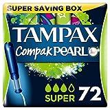 Tampax Compak Pearl Super Applicator Tampons 4 x 18 - Super Saving Box