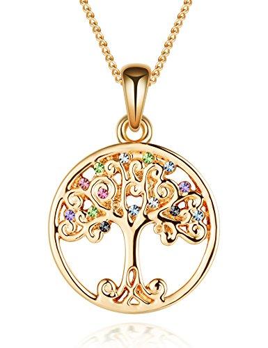 murtoo collana albero di amore in placcato Rodio e ossido di zirconio per donna nove ideale regalo di San Valentino