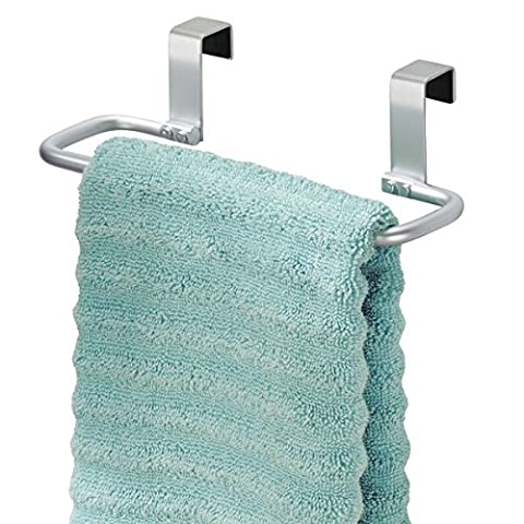 mDesign Kitchen Towel Holder with bar for Hanging Over the Kitchen Cabinet Door - Towel Ring Without Drilling - Also Suitable as a Bath Towel Holder - Aluminium / Light Grey