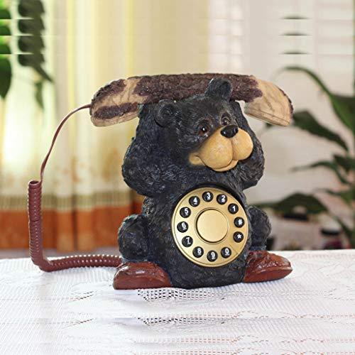 Retro Telefon Süß,Europäischen Stil Mode Gewichtheben Bär Dekoration Schnurgebundenes Japan Antikes Telefon-A -