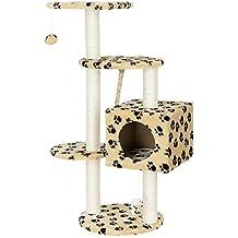 [en.casa] Rascador para gatos (40 x 40 x 113 cm aprox)(crema con huellas) varios niveles - sisal - con juegos y sitio para acurrucarse
