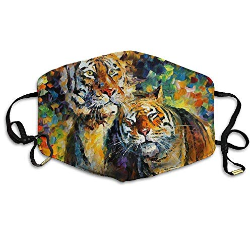 Daawqee Staubschutzmasken, Tiger Painting Mask Unisex Fashion Antidust Face Mouth Mask Muffle Flu Surgical Washable Warm Reusable Ski Cycling Mask