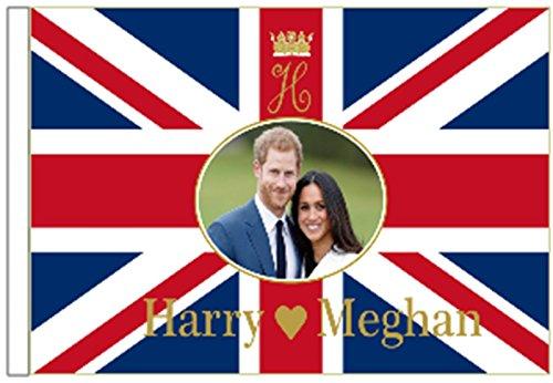 Prince Harry & Meghan Markle Royal Mariage fiançailles 45 cm x 30 cm à manches Drapeau