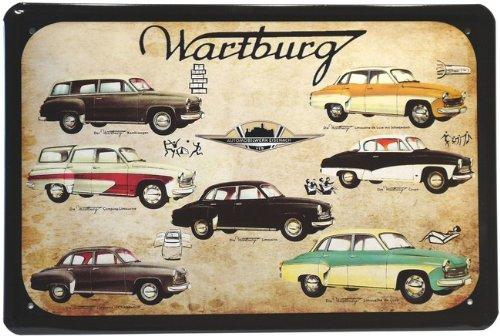 Blechschild Wartburg Modellübersicht Ostalgie DDR Auto 20 x 30 cm Reklame Retro Blech 16 -