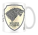 empireposter - Game of Thrones  - Stark  - Größe (cm), ca. Ø8,5 H9,5cm - Lizenz Tassen, NEU - Beschreibung: - GoT - Haus Stark - Winter is coming – Keramik Tasse, weiß, bedruckt, Fassungsvermögen 320 ml, offiziell lizenziert, spülmaschinen- und mikrowellenfest -