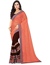 Riva Enterprise Women's Lycra Pallu Embroidred Orange And Brown Color Women Saree (RIVA135_)