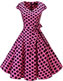 Dresstells Vintage 50er Swing Party kleider Cap Sleeves Rockabilly Retro Hepburn Cocktailkleider Pink Black Dot XS
