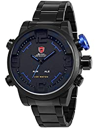 Shark SH106 - LED Reloj Hombre de Cuarzo, Correa de Acero Inoxidable Negro, Esfera Negra