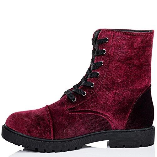 SPYLOVEBUY MOSH Femmes Lacet Plates Bottines Chaussures Rouge - Simili Velours
