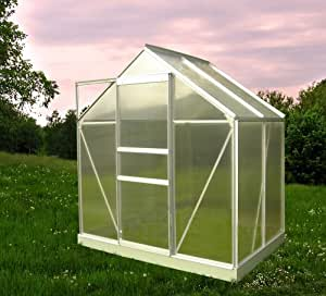 Chalet-Jardin 901667 46 Serre de Jardin avec Base Aluminium/Polycarbonate Transparent 190 x 120 x 200 cm