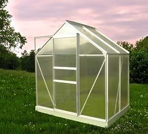 chalet jardin 901667 46 treibhaus garten mit basis aus aluminium polycarbonat transparent 190 x. Black Bedroom Furniture Sets. Home Design Ideas