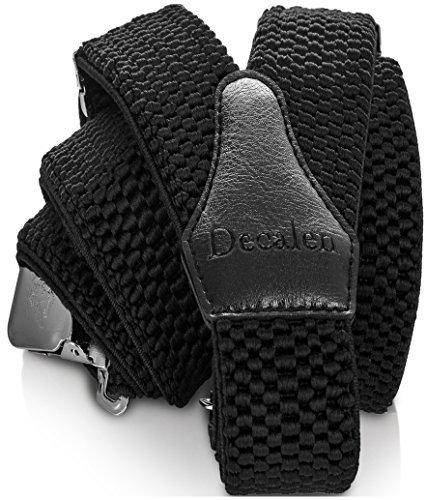 Decalen bretelle uomo eleganti extra forte clip taglia unica per uomini e donne grandi e alti larghezza regolabile di 4 cm e forma a y elastica (nero)