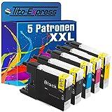 PlatinumSerie® 5x Patrone XXL kompatibel für Brother LC1240 Black Cyan Magenta Yellow Drucker Brother DCP-J525W DCP-J725DW DCP-J925DW MFC-J430W MFC-J5910DW MFC-J625DW MFC-J6510DW MFC-J6710DW MFC-J6910DW MFC-J825DW MFC-J835DW je 30ml Black und 20ml Color