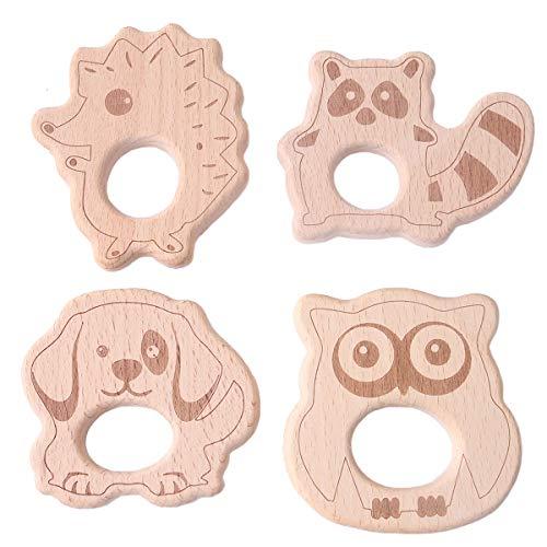 z Tier Anhänger Kit Diy Beißring Pflege Zubehör Holz Lgel Waschbär Eulen Hund Baby Zahnen Spielzeug Monterey Spielzeug ()