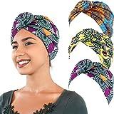 3 Pièces Turban Africain Écharpe de Tête Turban Bohème Bonnet Noué Élastique