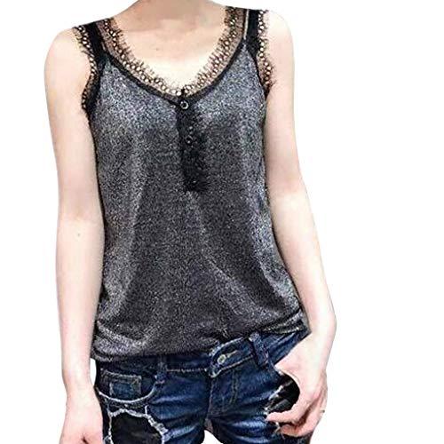 B-COMMERCE Frauen Sexy Lace Spleißen V-Ausschnitt Camis Weste Mode Ärmellose Taste Plain Bluse Sommer Lose Sling Tops Large Size