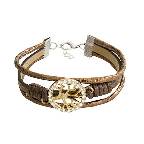 Kiss Me! Braunes Vintage Damen Armband Braun Geflochten Glücksanhänger Gold Baum Des Lebens Strass Länge 17cm 5cm