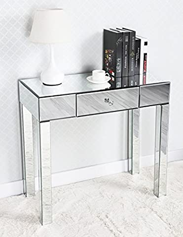 Miusco Console Table, Glass Mirrored Console Table, One-Drawer Hall Table