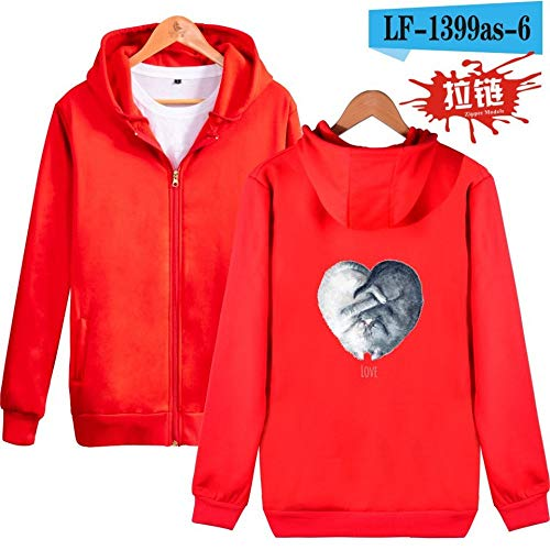 Kostüm Dirty Für Paare - jiuyaomai Sweatshirt Herbst und Winter lieben Print Reißverschluss Kapuzenpullover rot XL