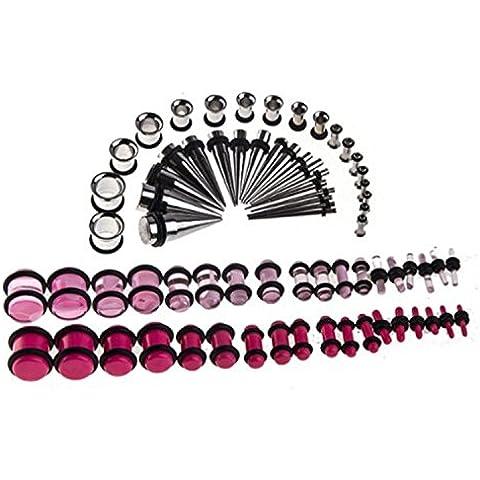 Kit conico, 14 g, 00 G, 36 pezzi, acciaio inossidabile, gallerie e 36 pezzi acrilico (Acciaio Di Stretching Taper Plug)